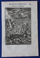 Original antique print FISH, SEA MONSTER, WHALE, NARWHAL, A.M. Mallet, 1683