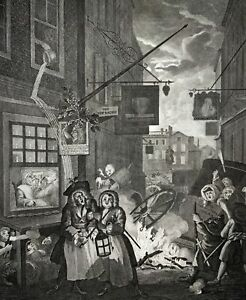 1780 c. Rare FOLIO Hogarth engraving NIGHT IN LONDON Riepenhausen