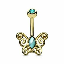 filigree gold plated Piercing navel butterfly