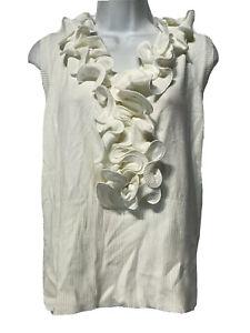 Vila Milano Beige Ruffle Waterfall V Neck Sleeveless Ribbed Sweater Plus Size 3X