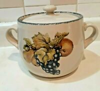 Home & Garden Party Ltd Crock Stoneware Fruit Bean Pot w/lid