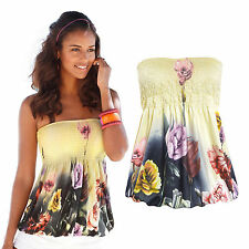 Womens Boho Floral Bandeau Tank Top Summer Beach Strapless Vest Blouse T-shirt