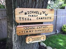 Personalized Custom Carved Engraved Family & Pet Camping Wood Sign / Plaque