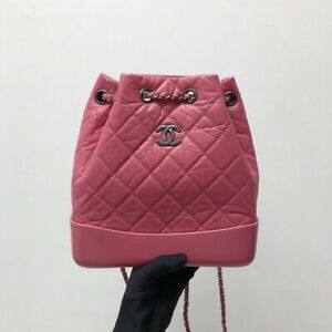 100% AUTH CHANEL Gabrielle Backpack Calf Skin Pink Small