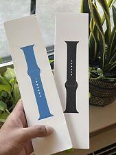 Brand New Original OEM Apple Watch Sport Band 44mm Surf Blue, Black (2 Bands)