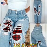 Women Casual Slim Plaid Ripped High Waist Jeans Denim Jeggings Pants Trousers US