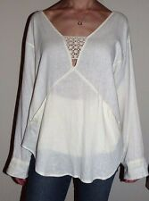 New Womens Size Medium Free People Boho Off White Linen Lace Accent Slub Top