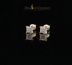 10K Yellow Gold Finish with 0.05 CT Real Diamond Silver Stud Micro Earrings