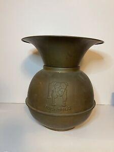 Vintage Antique Brass Bull Dog Spitoon
