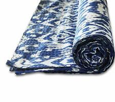 Indian Handmade Blue Floral Ikat Print Queen Kantha Quilt Cotton Throw Blanket