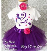 Purple Pink Unicorn Girl 2nd Second Birthday Shirt Tutu Outfit Set Party Dress