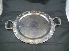 """N.S.Co. Silver on Copper D-7 Vintage Round Serving Tray Grape Design 14 1/2"""" Dia"""