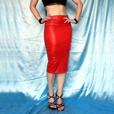 Stretta ecopelle rock rosso lucido * M EFFETTO BAGNATO EFFETTO PELLE-Look Pencil skirt high waist