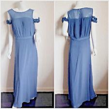 Womens BNWT Grey Cold Shoulder Frill Pleated Top Wedding Guest Maxi Dress - UK10