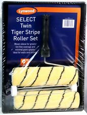 """Lynwood Twin Tiger Stripe Roller Paint Tray Set 9"""" Woven Sleeve Large Pile"""