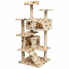 vidaXL Cat Tree with Sisal Scratching Posts 125 cm Paw Prints Beige Play Tower