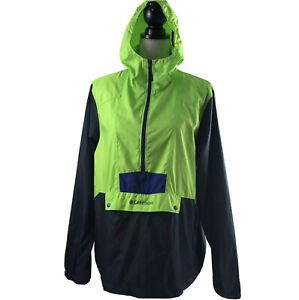 Columbia Womens Small Adirondack 1/2 Zip Neon Green Hooded Windbreaker Jacket