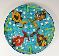 "Vintage MEXICAN Talavera Venegas 12"" Art Pottery Fish Plate"