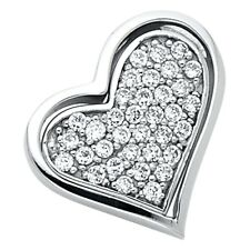 Pave Set Curve Fancy 12 x 15 mm Solid 14k White Gold Heart Charm Love Pendant Cz