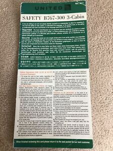 United Airlines Boeing 767 300 3 Cabin Series Safety Card Rev OCT 2011