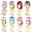 HOT Colorful Lady Lolita Bob Rainbow Wigs Short Straight Party Wig / Wig Cap