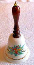 "Porcelain 6.25"" 1985 Avon Christmas Holiday Dinner Bell Wooden Handle w/ Fruit"