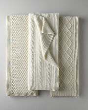 Brand New SEALED $995 Sofia Cashmere 100% Cashmere Thick Ivory Cable Throw
