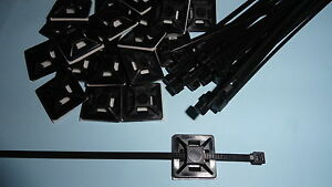 Cable ties with stick on mounts x 25