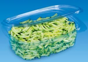 A Pack of 50 - 250cc CLEAR PLASTIC DISPOSABLE SALAD BOWLS WITH HINGED LIDS