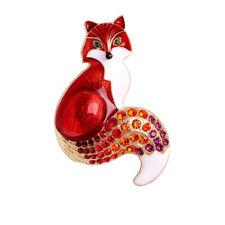 Pins Men Women Animal Jewelry Gifts Rhinestone Vintage Enamel Fox Causal Brooch
