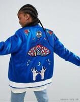 Adidas Embellished Arts Bomber Jacket Varsity Royal Blue Zip Track Top Baseball