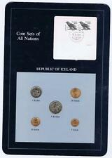 Republic of Iceland 5 pc Mint Set BU 1981 Coin Sets of All Nations stamp