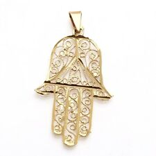 Estate 14k yellow gold diamond cut filigree hamsa pendant Vintage