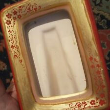 Vintage flower ceramic picture frame hand painted red, gold, Italy, 4x2.5 photo