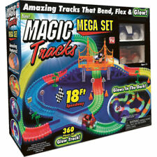 Magic Tracks 18ft 360pcs Mega Set LED Race Cars Glow In The Dark+2 Cars Kid Gift