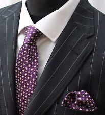 Tie Cravatta Con Fazzoletto Viola & Oro Metallizzato
