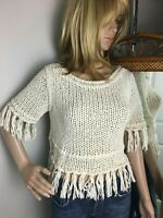 Free People Women's Sweater Ivory Cotton Chunky Knit Cropped Rag Fringed top XS