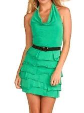 $258 BCBG EMERALD (ACJ6H818) TIERED HALTER DRESS NWT M