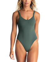 Vitamin A Womens Green Sage Ribbed Leah One-Piece Swimsuit Size XL/12 16434