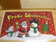 Fahnen Flagge Frohe Weihnachten Weihnachtsmann Schneemann - 90 x 150 cm