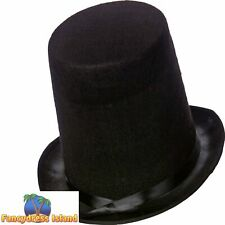 Old England Victorian Black Stovepipe Hat 20cm Mens Fancy Dress Accessory