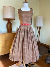 50s Dress Cotton Sundress Autumn Colored 1950's Fit Flare Dress Pleated Skirt
