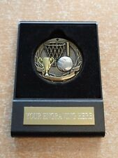 Gold Netball Medal in black plastic case including free engraved plate