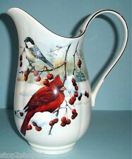 """Lenox Winter Greetings Scenic Large Pitcher Winter Birds 10"""" H Made in USA New"""