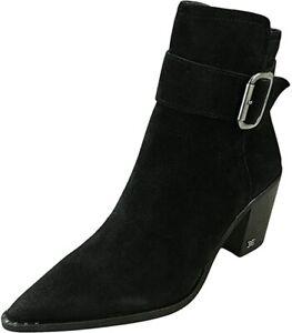 SAM EDELMAN Women's Leonia Buckle Suede Heel Booties Black Size 7.5 NWB