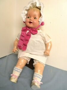 """VINTAGE 24"""" LG. COMPOSITION 1930 IDEAL CLASSIC MAMA HAPPY BABY DOLL COMPOSITION"""