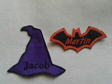 Halloween Patches Bat Pumpkin Witch Hat Custom Embroidered Name Patch Iron On