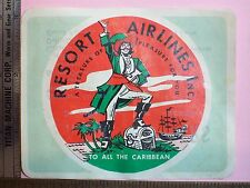 AIRLINE STICKER WHEATIES 1957 RESORT AIRLINES A TREASURE OF PLEASURE PIRATE
