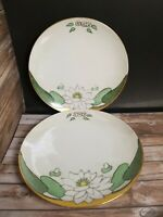 """2 Vtg Handpainted And Signed E. McCoy Art Pottery Lotus Water Lily 6.25"""" Plate"""