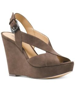 Michael Kors Womens Becky Wedge Suede Sandal (Taupe, 6)